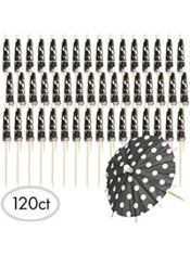 Black Polka Dot Umbrella Picks 120ct