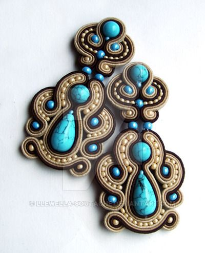Soutache earrings with turquoise (imitation)