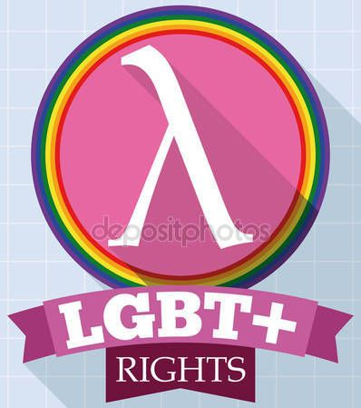 Round Button with Lambda Symbol and Ribbon for LGBT Rights