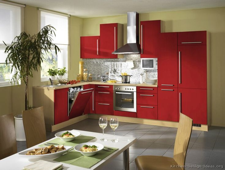 Kitchen idea of the day red reminds us of roses race for Alno kitchen cabinets