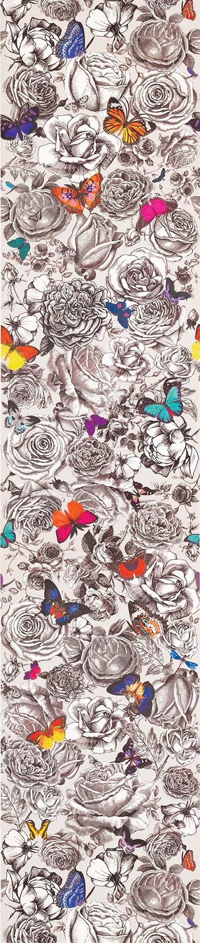 """Butterfly Garden"", from the UK's Osborne & Little, a mashup of naturalism and the traditional, exquisitely hand drawn floral. Very contemporary and available as both a fabric and wallcovering."