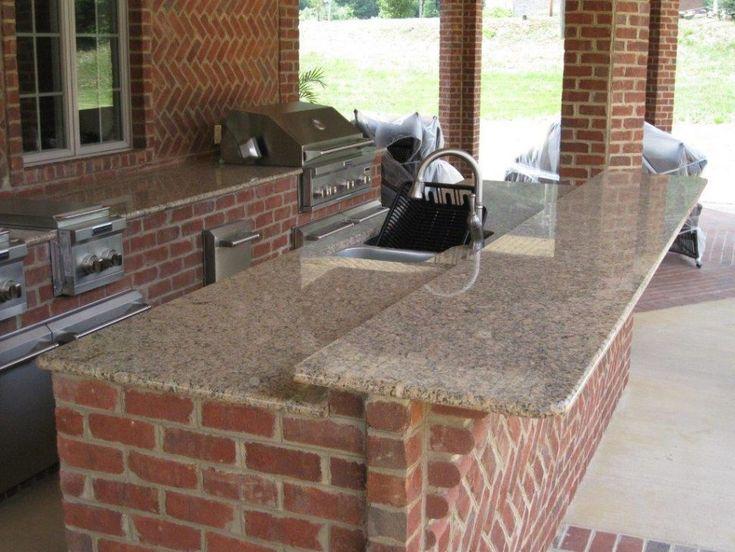 fabulous brick outdoor kitchen   Kitchen:Traditional Rustic Brick Wall Outdoor Kitchen With ...