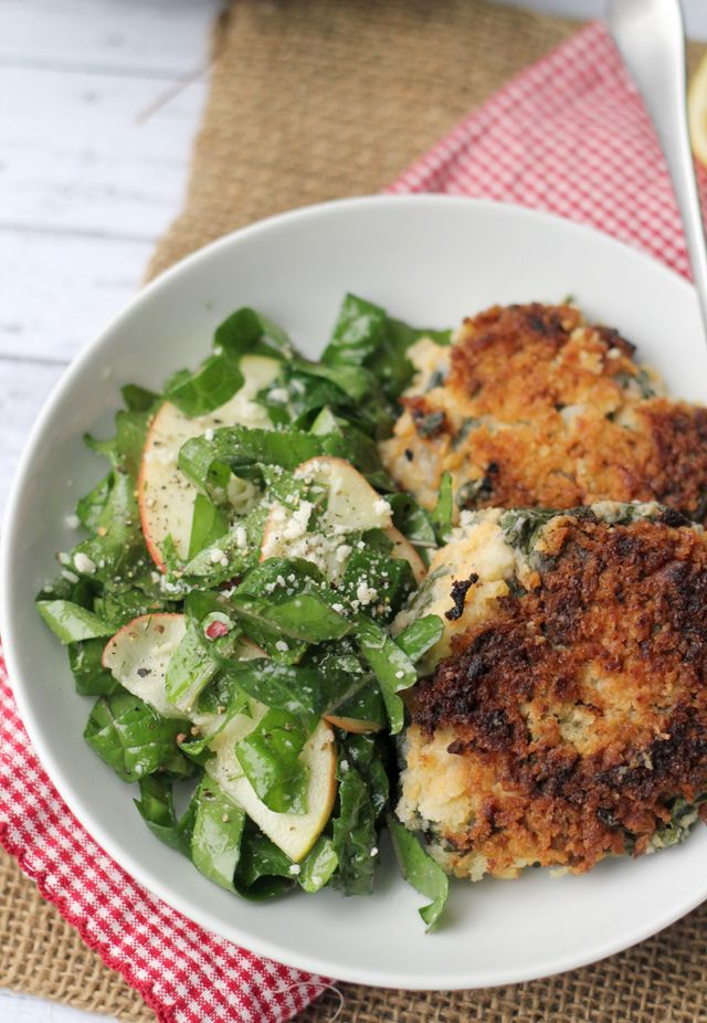 Joanne Eats Well With Others   Smoky Kale and Potato Cakes and Red Kale Salad with Quick-Pickled Apples