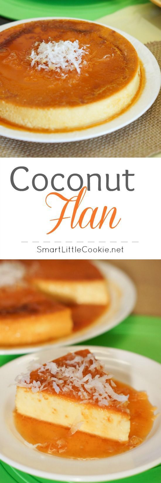 Gah - wouldn't this go great with a cuppa coffee when a friend stops in?! ;-) Coconut Flan | http://SmartLittleCookie.net