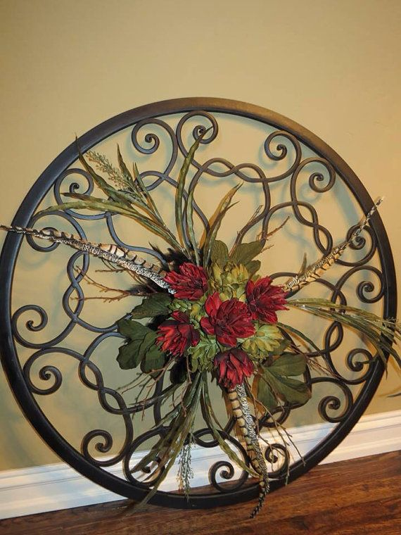 Oversized Metal Scroll With Floral And Feathers Ready To