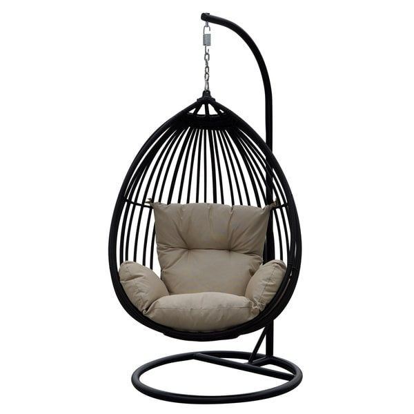 Swing Away Your Stress With This Beautiful Charcoal Resin Wicker One Person  Swing. The Swing Comes With A Plush Dot Beige Seat And Back Cushion That  Has Arm ...
