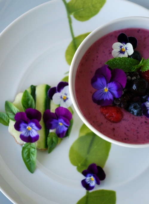 cucumber sandwiches & chilled berry soup garnished with edible violas~  oh, my~