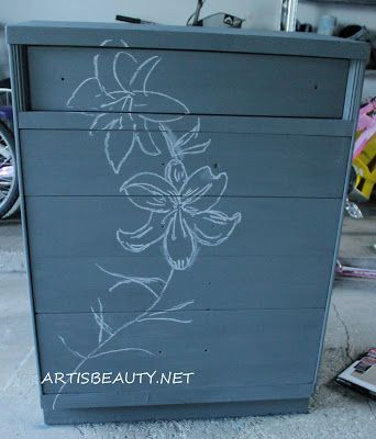 painted dresser with flower