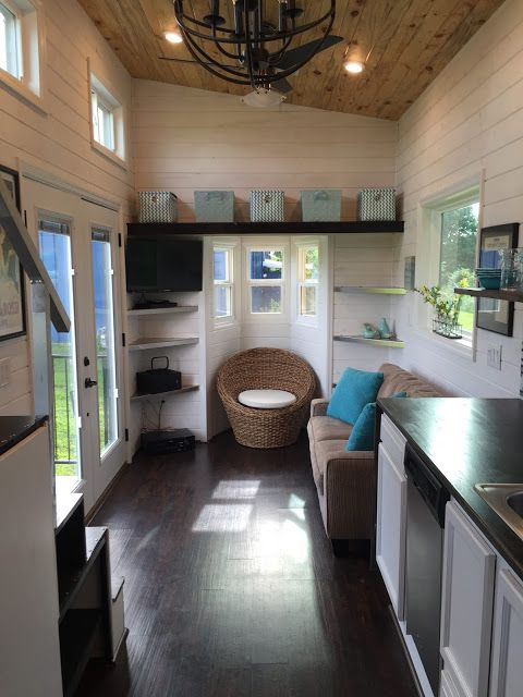 The interior of a luxurious Tennessee tiny house