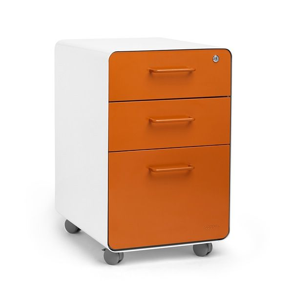 Poppin White + Orange Stow Rolling 3-Drawer File Cabinet | Desk Furniture | Cool and Modern Office Supplies #workhappy