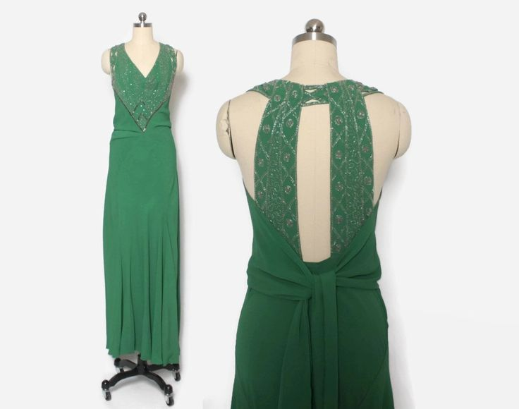 Vintage 30s EVENING GOWN / 1930s Stunning Beaded Green Crepe Bias Cut Formal Dress S - M #30sstyle #30sfashion #30svintage #truevintage