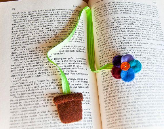 Felt flower ribbon bookmark school accessory by InspirationalGecko