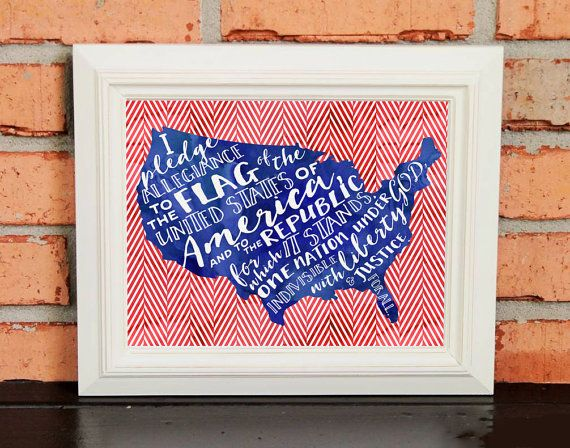 Wall Art  Pledge of Allegiance  Red White and Blue  US Flag