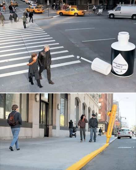 When coming up with an ad campaign for FedEx Kinko's, the innovative minds at advertising agency BBDO were inspired by the streets of New York. The agency installed oversize bottles of correction fluid, highlighters, and, in one case, an office lamp, on the city's busy thoroughfares for a couple of days earlier this year.