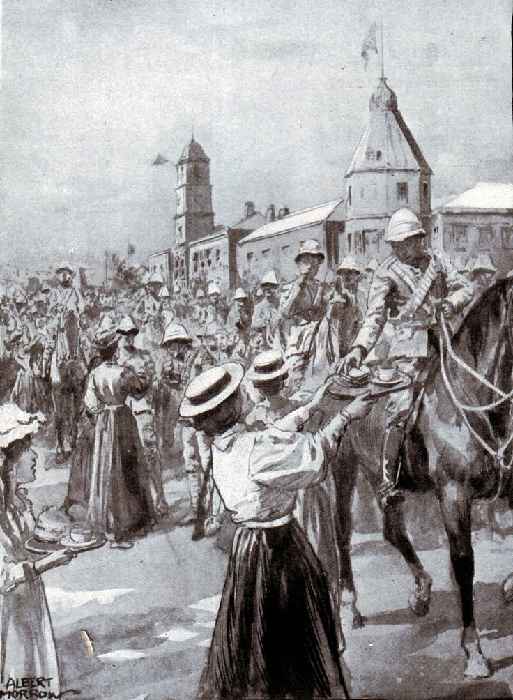 Populace of Molteno provide water and food to the returning British troops after the Battle of Stormberg on 9th December 1899