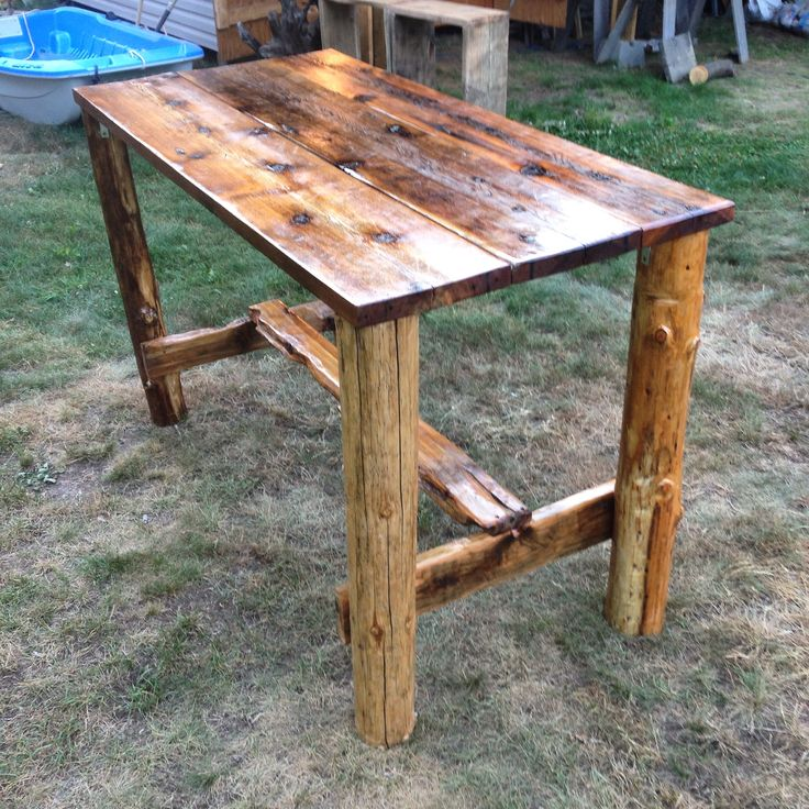 i found all my wood down on the beach in the kootenays ,bc this table is 40 inches high and 30 wide and 62 long.was a fun build.