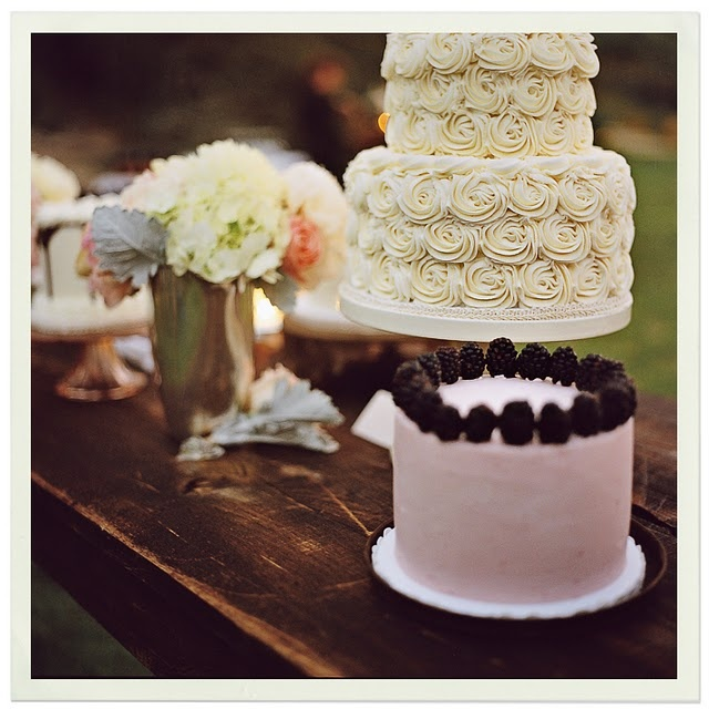 in LOVE with this stunning rosette cake. the simplicity of the groomscake with blackberry trim is also such a perfect complement!