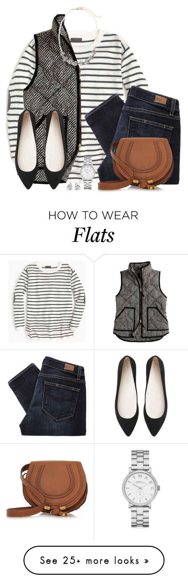 """Striped top, herringbone vest & pointed flats"" by steffiestaffie on Polyvore featuring J.Crew, Paige Denim, Sole Society, Chloé, Witchery, Marc by Marc Jacobs and Georgini"