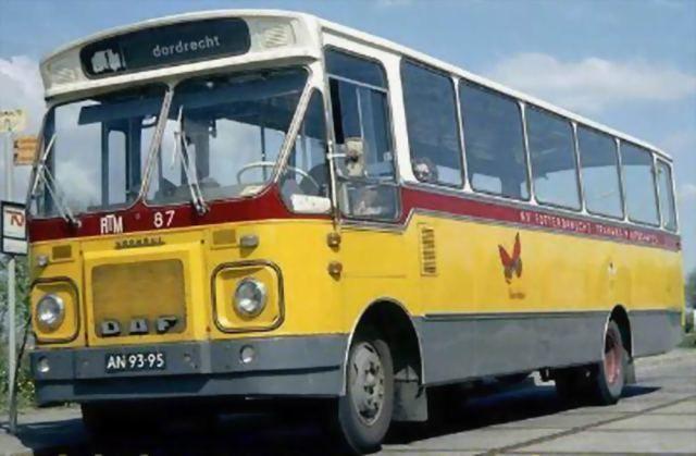 RTM, Rotterdam bus nr 87 de Vuurvlinder, een  DAF-Verheul streekbus in 1970