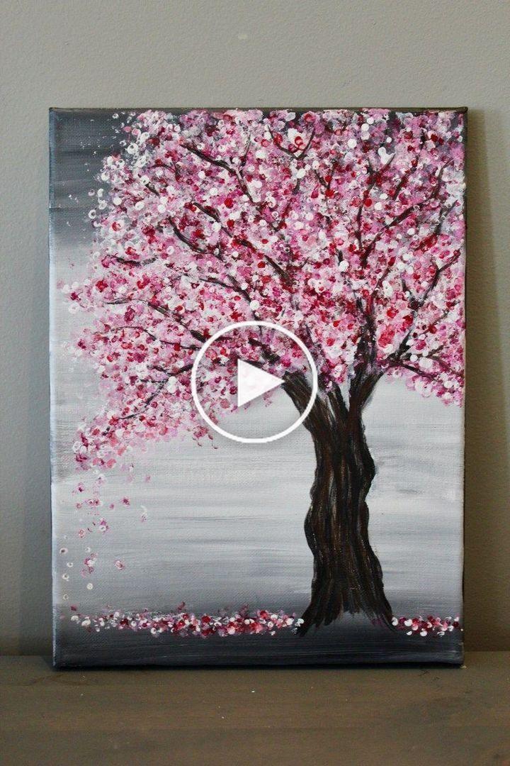 Pink Cherry Blossom Tree Acrylic Painting Acrylic Cat Painting Acrylic Paint On Plywood In 2020 Cherry Blossom Painting Amazing Art Painting Canvas Painting Tutorials