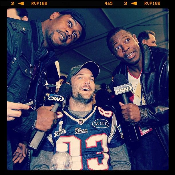 "Wes Welker gets ""interviewed"" by Troy Brown & Lawyer Malloy... Go Patriots!! #SuperBowl"