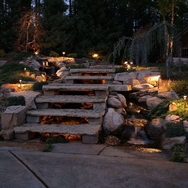 koi pond lighting ideas. Stone Stairs Koi Pond Lighting Ideas C