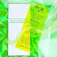 neon lucite invite in green rectangular