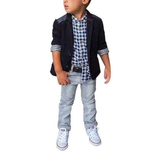 Kids Clothing Sets, Plaid Shirt, Blazer, Jeans For Boys 2-8 Years