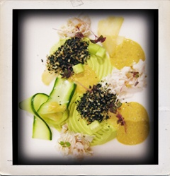 An avalanche of flavours - crab, compressed pickle cucumber, ginger and avocado.