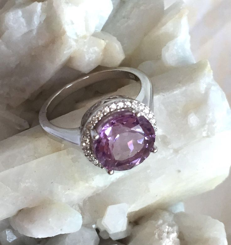 Natural Round Facet AMETHYST Gemstones and Cubic Zirconia, 14k White Gold and 925 Sterling Silver, Classic & Gorgeous Jewellery Ring Sz. by AmeogemPreciousJewel on Etsy