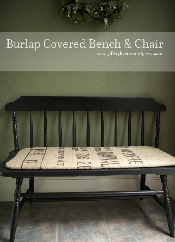 Burlap Covered Bench Amp Chair Burlap Furniture