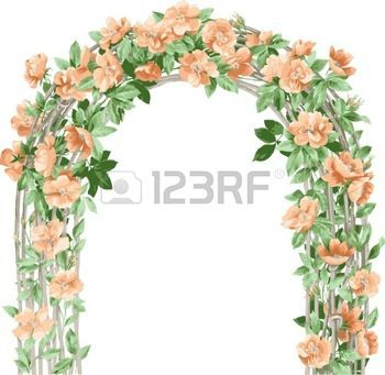 arches%3A+Florale+achtergrond.+Boog+van+bloemen.+Bloem+design+elementen.+Stock+Illustratie