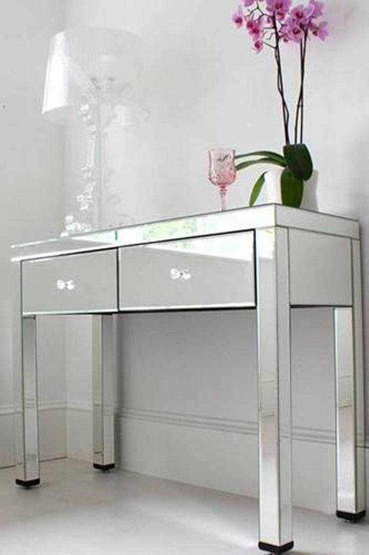 Furniture , Console Table With Drawers : Mirrored Console ...