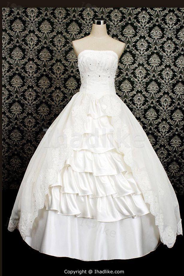 White Beading Sleeveless Satin/ Organza Ball Gown Wedding Dress 2014 001