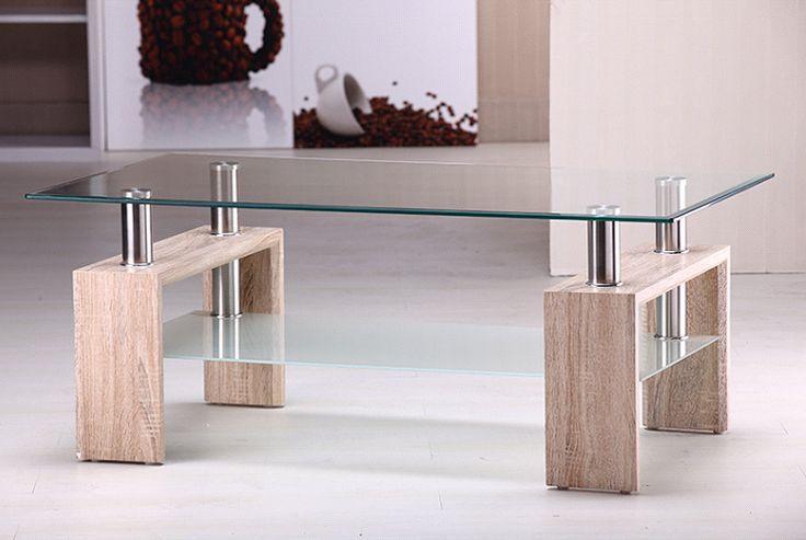 Mesa ratona de vidrio cromo y madera con estante lamuebleriaonline mesas bajas modernas - Mesas de centro de cristal modernas ...