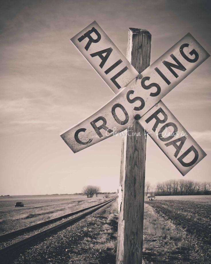 Railroad Crossing Sign Photograph. Nebraska Landscape. Christina Klausen via Etsy #fpoe