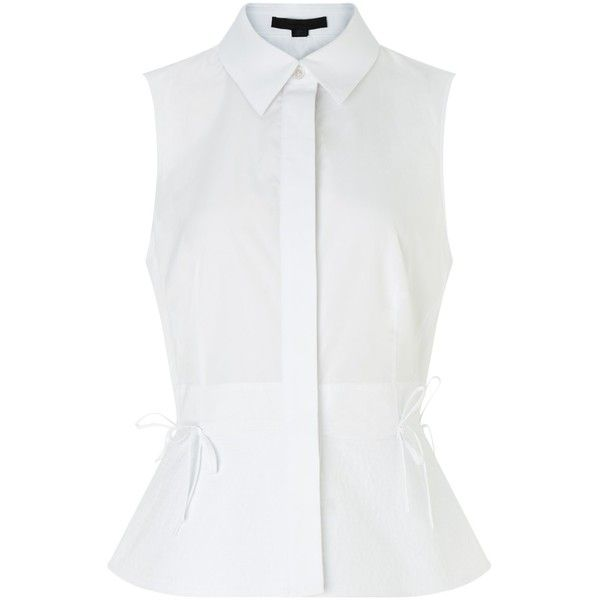 Alexander Wang White Cotton Sleeveless Cutaway Blouse ($610) ❤ liked on Polyvore featuring tops, blouses, white, white peplum top, shirts & blouses, peplum blouse, sleeveless blouse and white sleeveless top