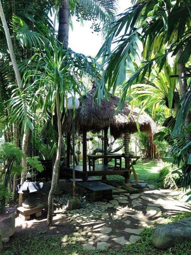 39 Erstaunliche tropische Außendekoration für gemütliche Plätze