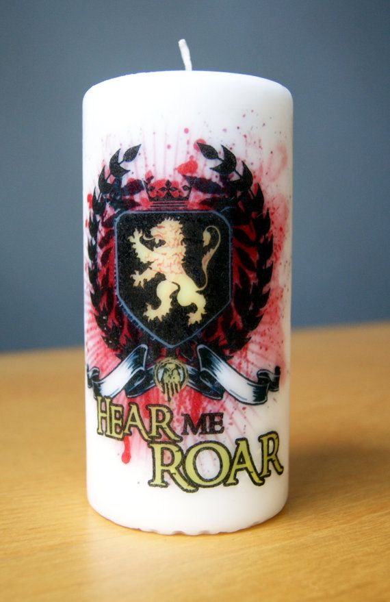 Game of Thrones House Lannister 6 Pillar by AtomicWonderland, $10.00  #gameofthrones #cersei #lannister #tyrion #tywin #jaime #tommen #lion #hearmeroar #alannisteralwayspayshisdebts #king #candle #geek #decor
