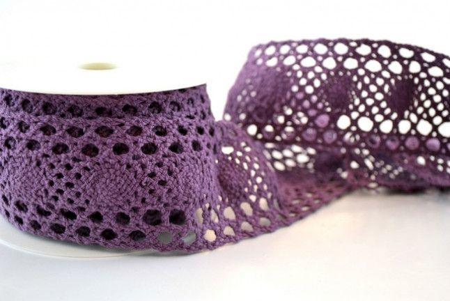 Merletti - Pizzo di Cotone Viola mm.55 metri 3 - un prodotto unico di raffasupplies su DaWanda