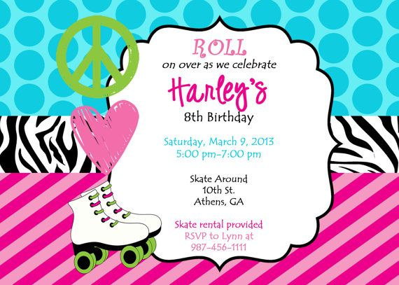13 best skate party images on pinterest birthday party ideas skate party invite skating birthday invitation skate invitation roller skate invite peace love skate digital filmwisefo