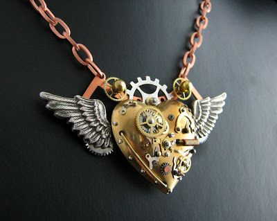 Steampunk Flying Heart Necklace