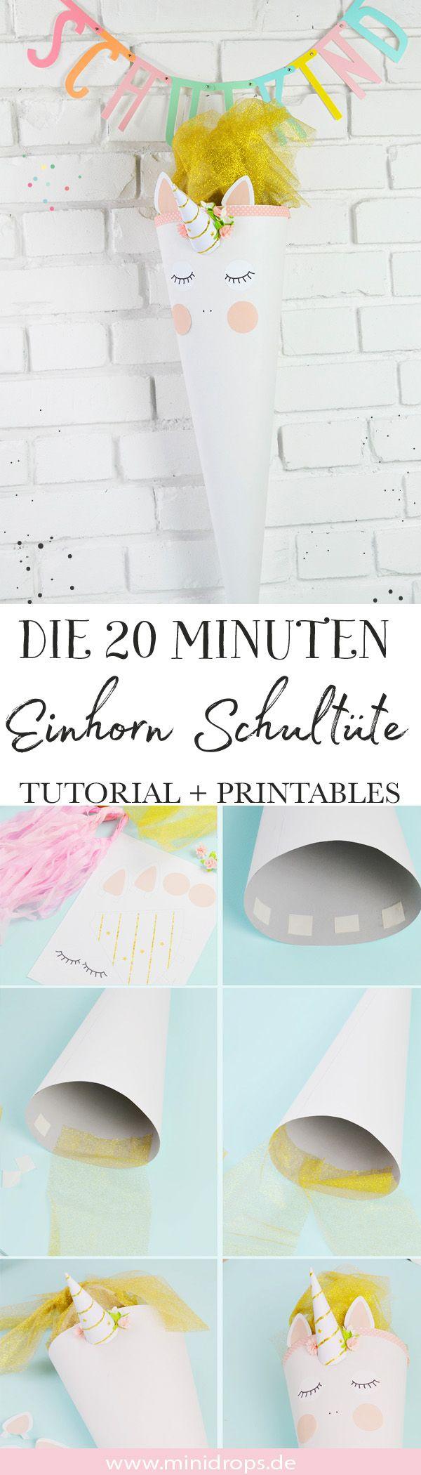 DIY Einhorn Schultüte basteln