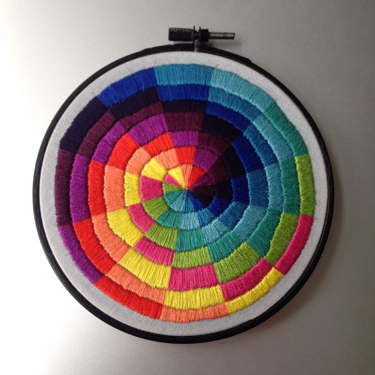 Satin Stitch colourwheel hand embroidery by Corinne Sleight 2014