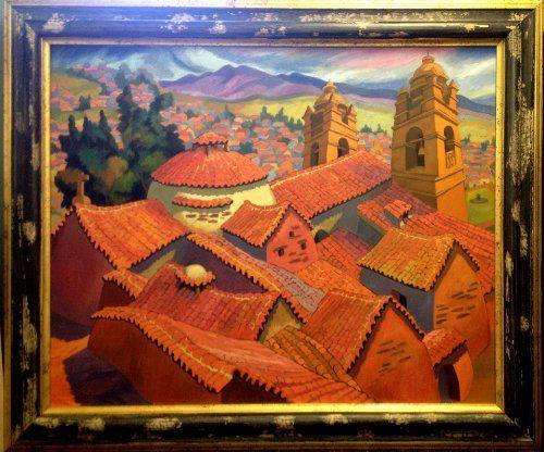 """""""Techos de Ayacucho"""" by Peruvian painter Juan de la Cruz Machicado available at Columbine Gallery on Amazon Fine Art"""