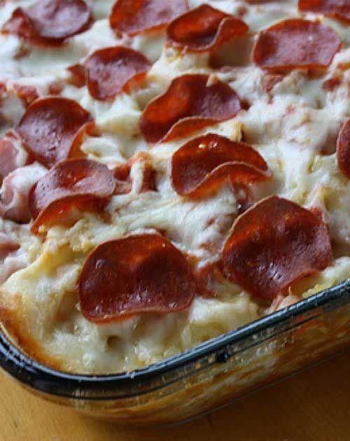 Recipe for 3 Meat Pizza Casserole
