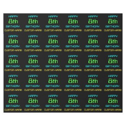 #Fun Digital Computing Themed 8th Birthday Wrapping Paper - #birthday #gifts #giftideas #present #party