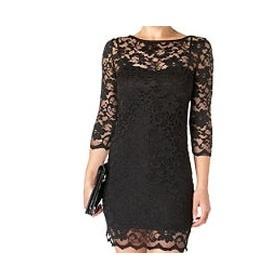 Robe courte NEW LOOK robe dentelle noire manche 3/4 en dentelle