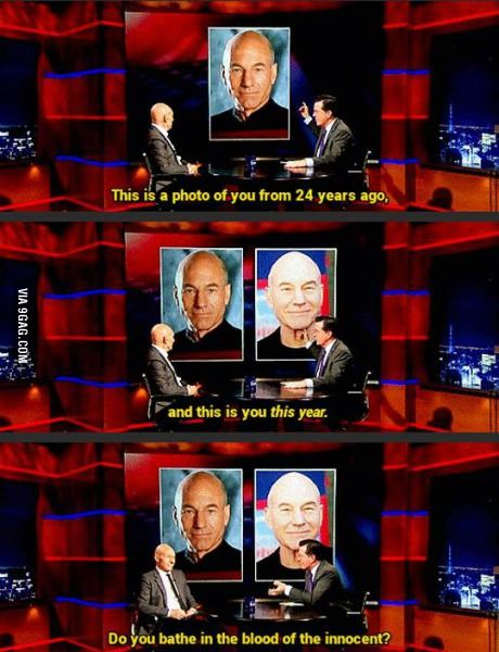 Stephen Colbert attempts to determine Patrick Stewart's secret