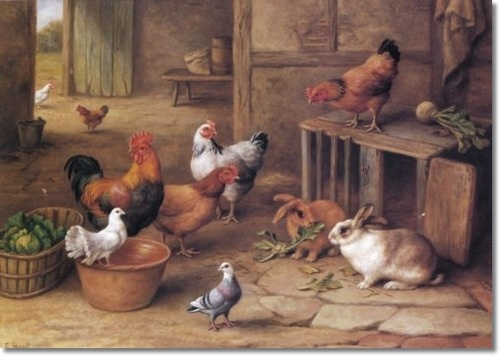 Edgar Hunt - Chickens Rabbits And Pigeons - Approximate Original Size - 11x15 Painting